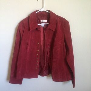 Coldwater Creek Red Suede Button Jacket